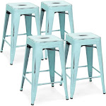 Best Choice Products Stackable Bar Stools, Blue - 4 count