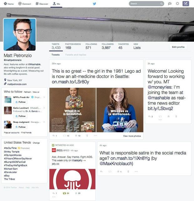 Twitter testa novo layout para de sua página, que aproximará o microblog das redes sociais Facebook e Google+. (Foto: Reprodução/Mashable.com)