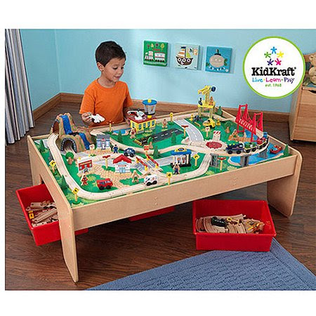 KidKraft Wooden Train Table and 120-Piece Waterfall Mountain Train Set with 3 Bins - Walmart.com