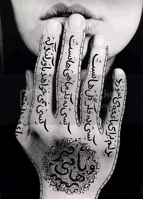 Shirin Neshat/Untitled,1996,Black & white photograph with ink,Photo taken by Larry Barns,9 3/8 x 6 1/2 inches(23.8 x 16.5 cm)