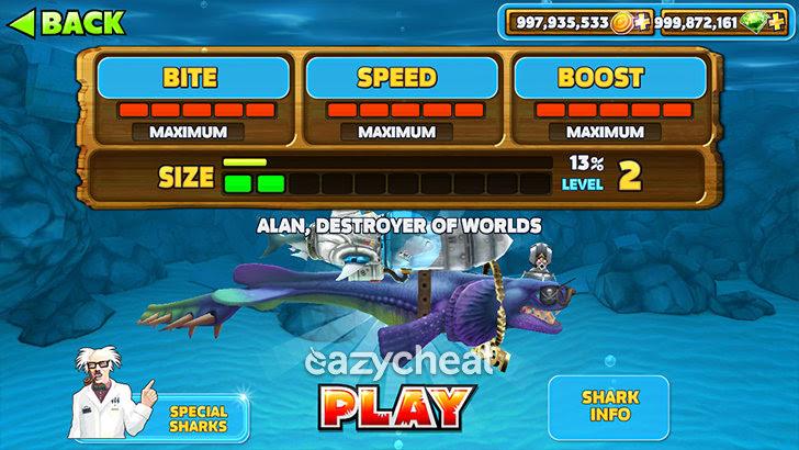 Hungry Shark Evolution v3.9.4 Cheats
