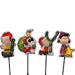 Northlight 4 Joy Peanuts and Snoopy Christmas Pathway Markers - Clear Lights