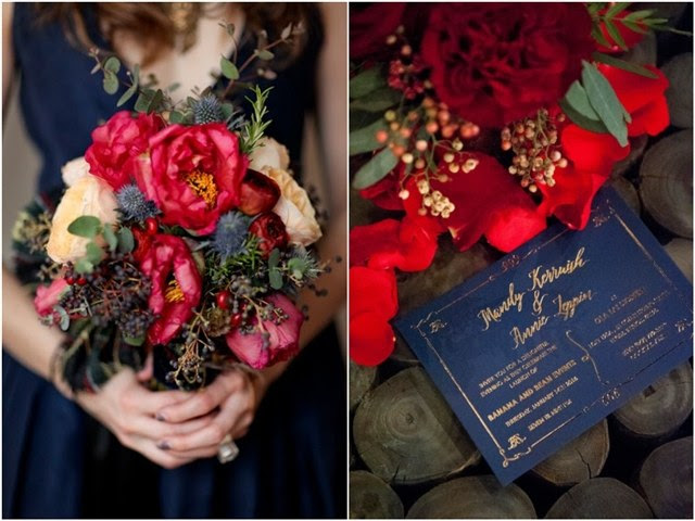 navy blue and red wedding color ideas