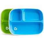 Munchkin Splash Toddler Divided Plates, 2 Pack Blue/Green