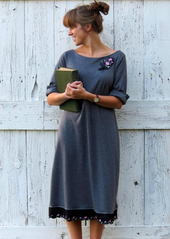 Doris Day in Gray upcycled dress slate grey vintage styled slate classic eco retro fashion dress