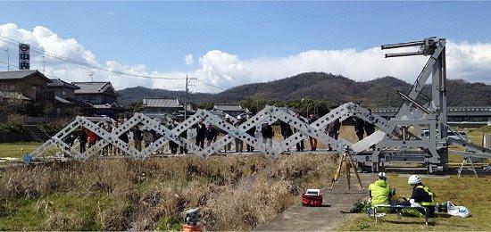 Ponte extensível em formato de tesoura
