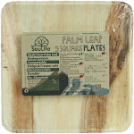 """EcoSouLife Palm Leaf Plates, Square, 9.4"""", 5 ct"""