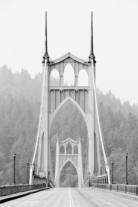 Photo Print of ST. JOHNS BRIDGE PORTLAND OREGON BLACK AND WHITE VERTICAL Print Framed Picture Fine Art Photography Large Print Wall Decor Art For Sale Stock Image Photo Photograph High Resolution Digital Download Aluminum Metal Acrylic Canvas Framed Photo Print Buy Photo by Robert Wojtowicz Fine Art Photographer