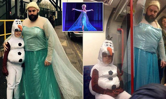 Devoted father wears wig and cape to take daughter to Frozen singalong