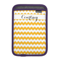 Sunflower Chevron Personalized Ipad Mini iPad Mini Sleeves