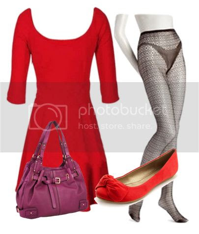 No nonsense tights outfit idea with dress