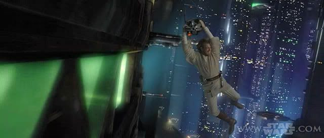 Obi-Wan hanging on an assassin droid as it flies through Coruscant's cityscape