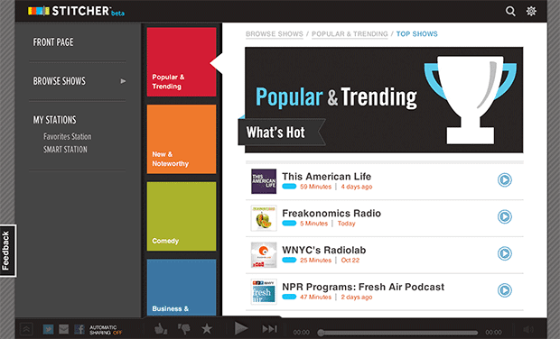 Stitcher keeps the news flowing for desktop users with new webbased app