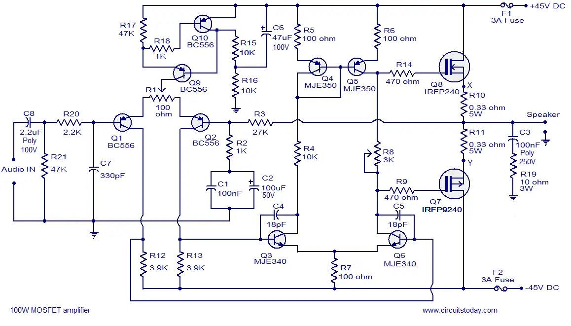 2sc5200 amplifier circuit diagrams 5200 1943 mosfet amplifier diagram by 60volt circuit