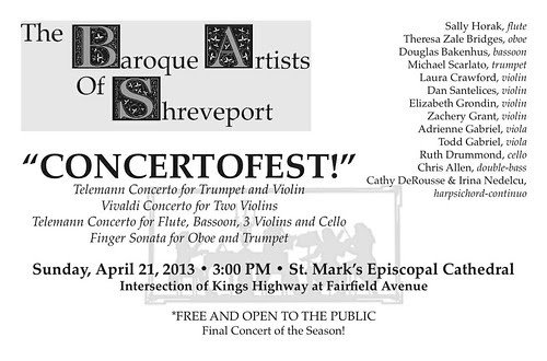 Baroque Artists of Shreveport, Sun, Ap 21, 3 pm, St Mark's by trudeau