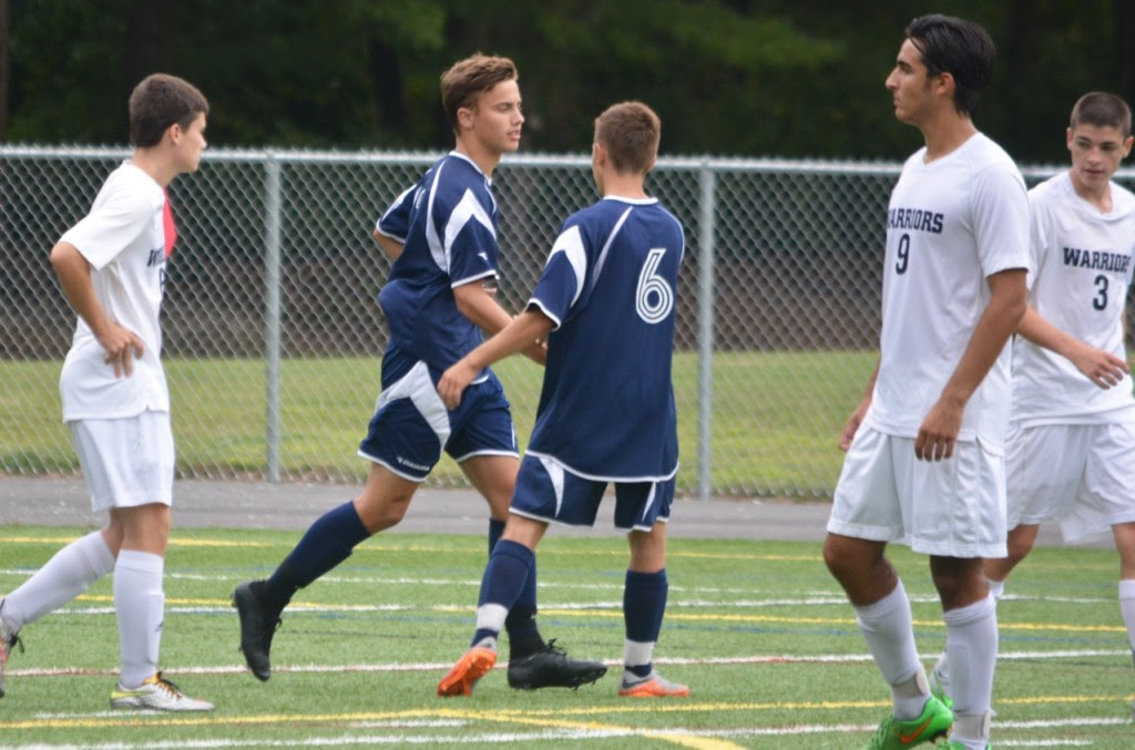 Austin Kent (2) scored a penalty and assisted on Kevin Hall's (6) goal, as the Panthers defeated Foxboro 2-0 on Friday afternoon. (Josh Perry/HockomockSports.com)