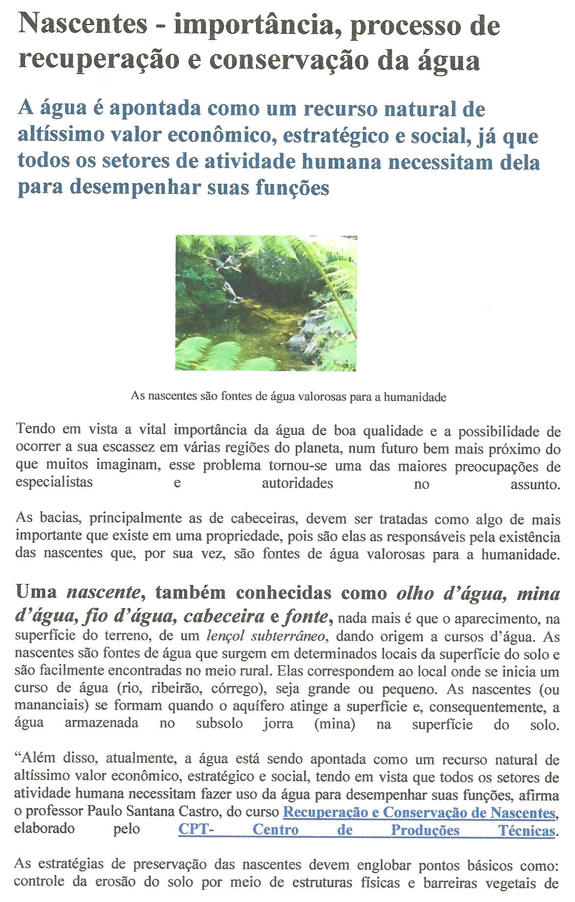 Nascentes A Importância Da Preservação Associação De Moradores