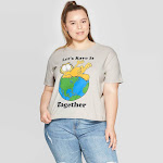 Women's Garfield Let's Save It Together Plus Size Short Sleeve Cropped Graphic T-Shirt - (Juniors') - Gray 2X, Size: 2XL