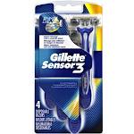 Gillette Sensor3 Triple Blade Disposable Razor for Men 4 Each