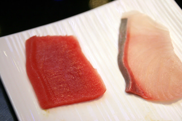 Ways of cutting the fish for sushi - a beveled protruding edge lends extra texture