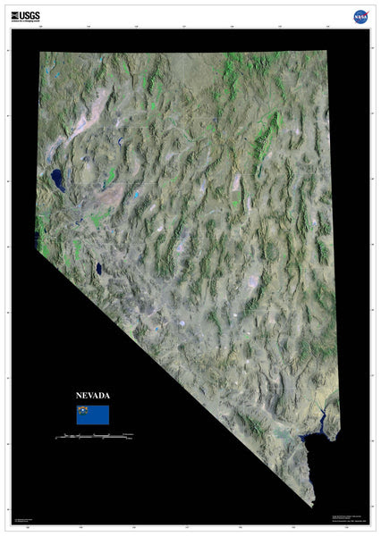Nevada Satellite Poster Map Aerial Views From Space
