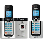 VTech Dect 6.0 Expandable Cordless Phone with 2 Handsets, Silver