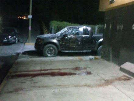Una camioneta baleada después del enfrentamiento en Reynosa, Tamaulipas. Foto: Tomada de Twitter