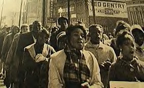 Selma voting rights march in March 1965. One demonstration was attacked by both Dallas County Deputy Sheriffs and the Alabama State Police at the foot of the Edmund Pettus Bridge on March 7, 1965. by Pan-African News Wire File Photos
