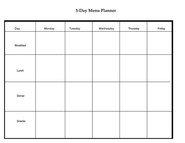 5 Day Weekly Planner Printable | scope of work template | Get fit ...
