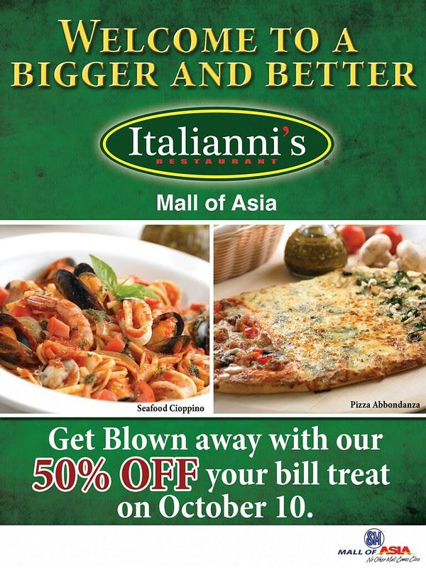 Italianni's Mall of Asia Promo