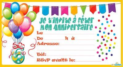 carte d invitation anniversaire 6 ans