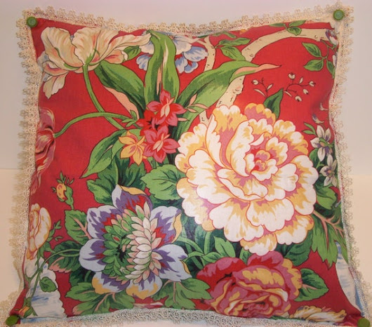 HANDMADE DECORATIVE PILLOW with Vibrant Designer Fabric in Glorious Reds Greens and Creams