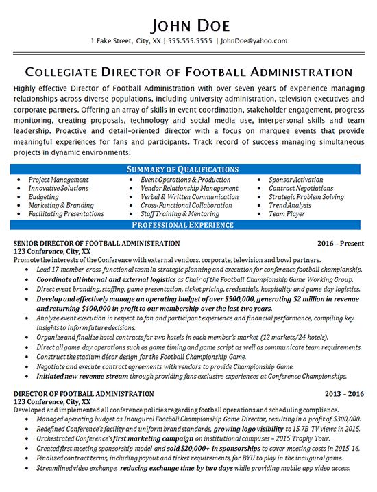 Athletic Director Resume Example Football Sports
