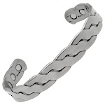 Rugged Twist Magnetic Therapy Bracelet Silver Bangle