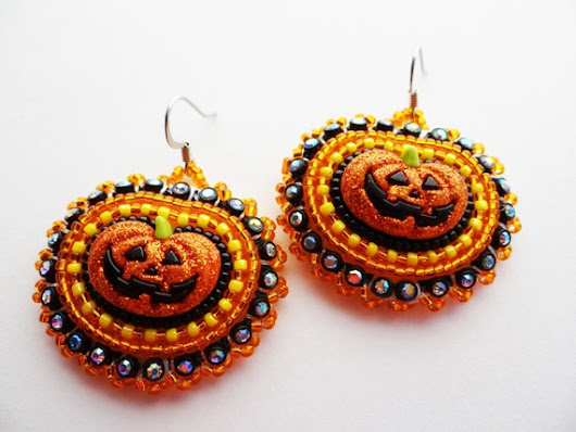 Jack O'lantern Earrings Halloween Pumpkins by ndnchick on Etsy