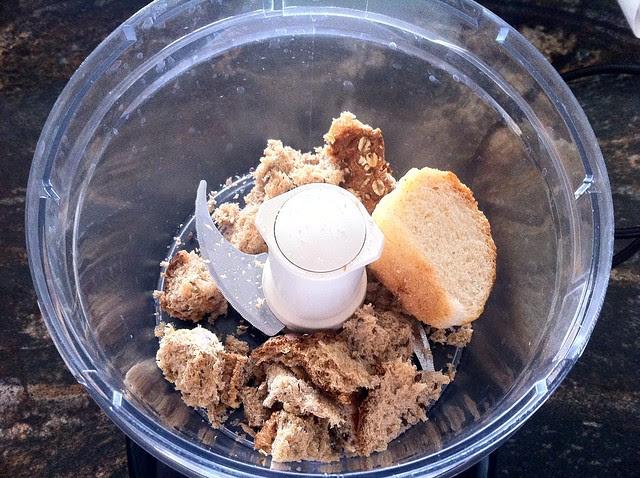 Scraps of Bread in Food Processor for Making Bread Crumbs