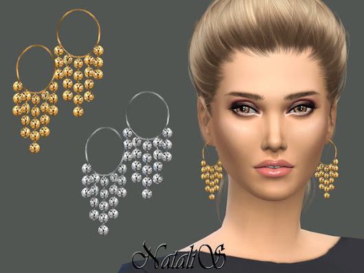The Sims Resource: Ethnic Hammered Earrings by NataliS • Sims 4 Downloads