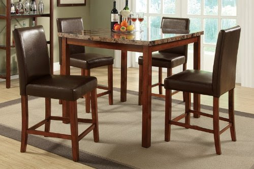 Wanna Buy 5pc Counter Height Dining Set with Marble Top in Brown Finish  reviews | You can find All Furniture and Reviews Click Here !!