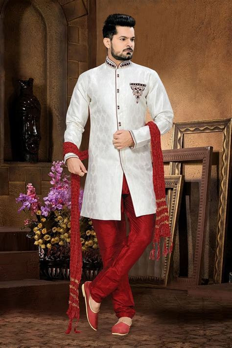 Wedding wear white Indian men's sherwani in jacquard