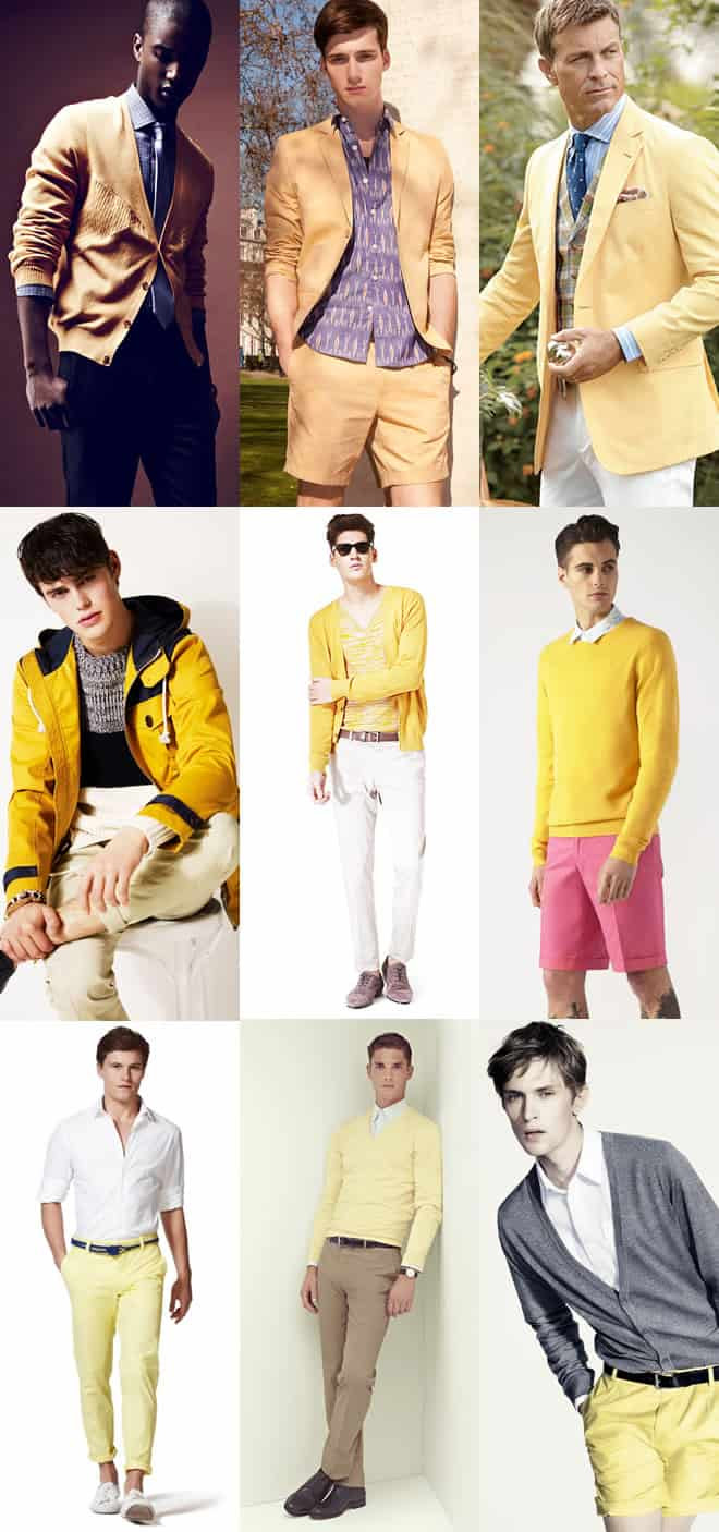 Men's Yellow Fashion Clothing Lookbook