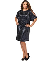 Xscape Plus Size Dress, Short Sleeve Sequined Shift