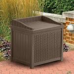 Suncast Resin 22-Gallon Outdoor Storage Bench Seat - Mocha Brown - SSW1200