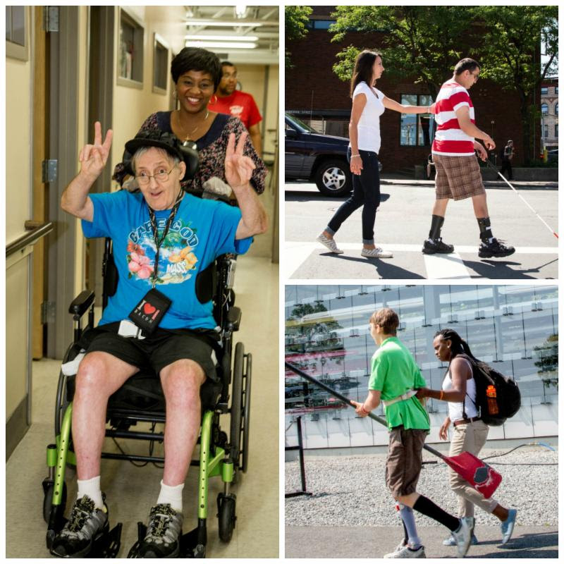 A collage of three photos: a staffer pushing an individual in a wheelchair and two images of staffers helping guide individuals