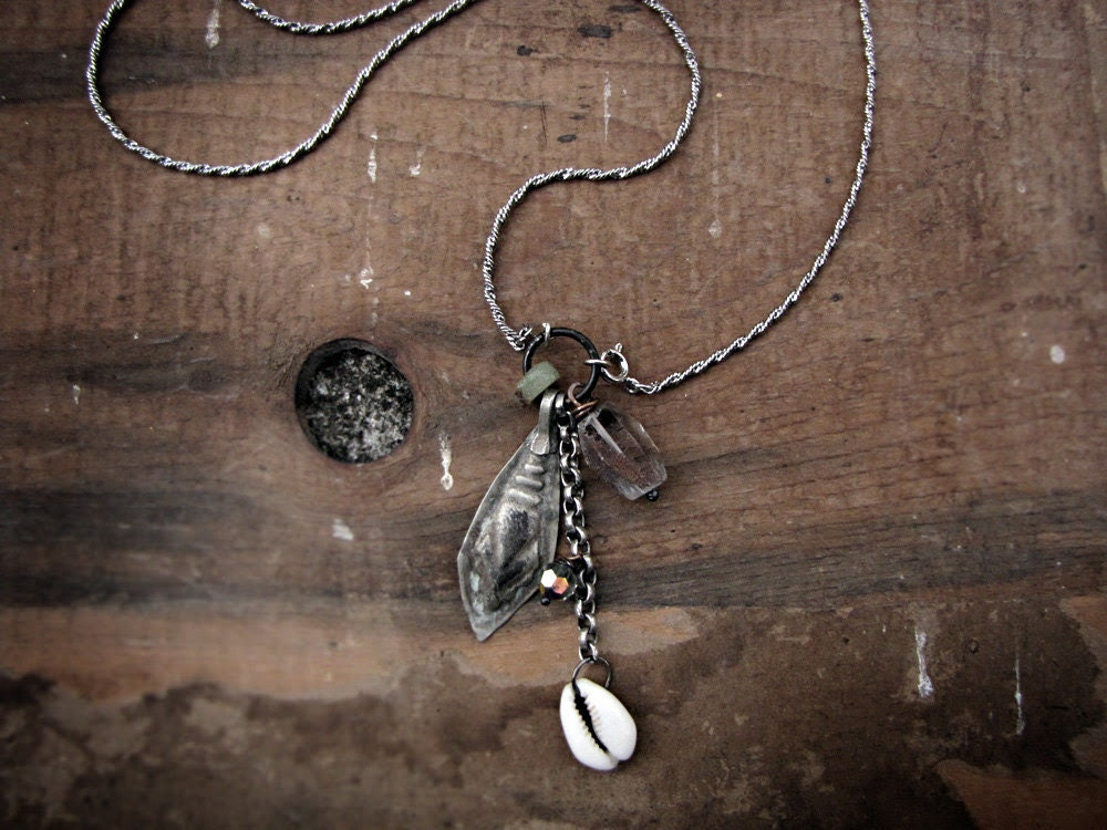 Motivator - salvage tribal necklace - vintage kuchi charm - rough rock crystal - tribal sci fi