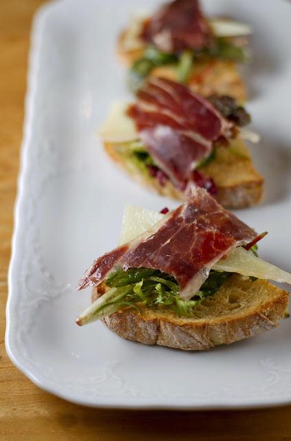 Bellota Ham, Goat Cheese & Salad on Toast