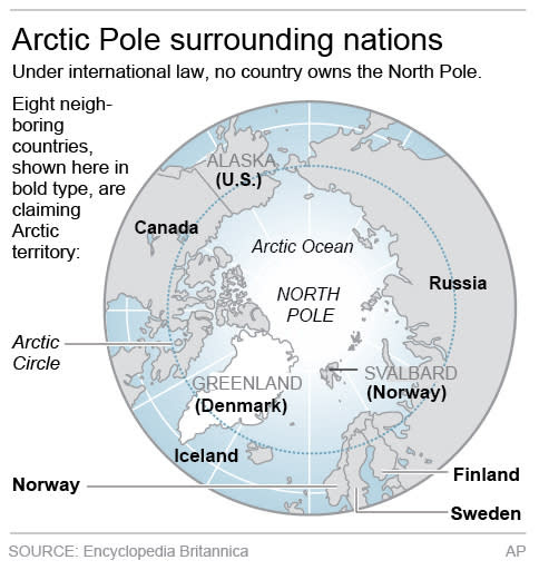 North Pole and Surrounding Nations. (Credit: AP) Click to enlarge.