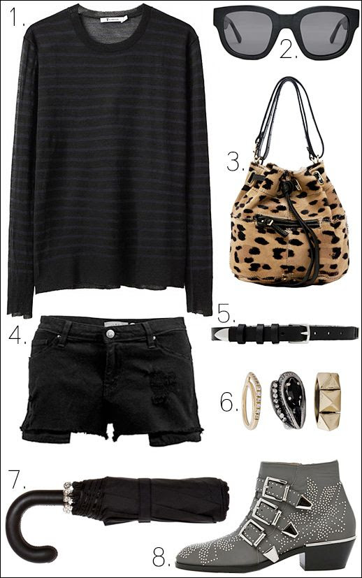LE FASHION BLOG OUTFIT COLLAGE T by Alexander Wang Black and Grey Stripe Lightweight Sweater Acne Sunglasses Jerome Dreyfuss Leopard Alain S Bag  Iro Peter Cutoff Shorts Iro Trey Belt in Black  Iosselliani Set of 3 Rhinestone Yellow Gold Rings Alexander McQueen Black and Silver Mini Umbrella Chloe Charcoal Grey Gray Susanna Studded Bootie Boots Spring Look April Showers