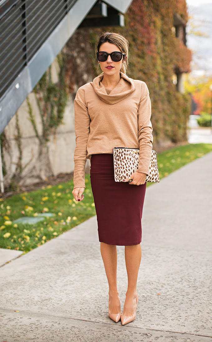 burgundy pencil skirt with camel sweater
