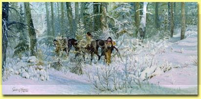 painting depicting Marie Dorion and her young boys lost in the winter wilderness of Oregon Country