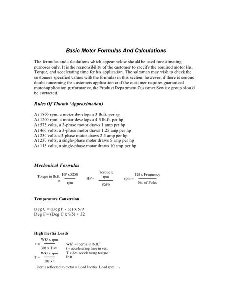 Motor Load Calculation Formula - impremedia.net